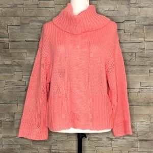 Icône bright peachy-pink large-knit sweater